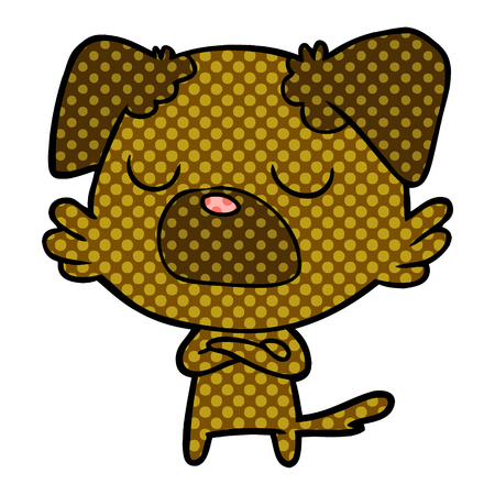 Snob dog in dotted cartoon illustration. Çizim