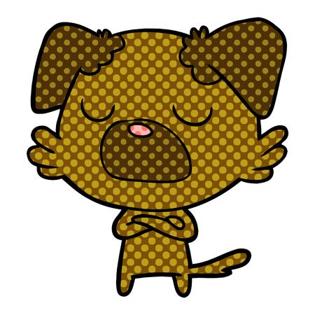 Snob dog in dotted cartoon illustration. Illustration