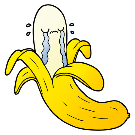 cartoon crying banana