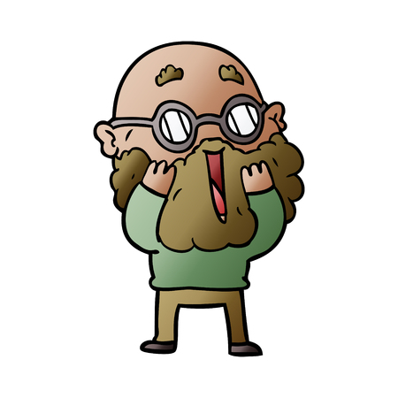 cartoon amazed man with beard