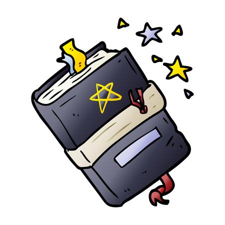 Witch's book of spells graphic design in cartoon illustration. Illustration