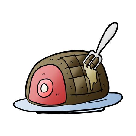 調理された牛肉の漫画のプレート