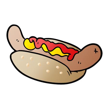 Cartoon fresh tasty hot dog
