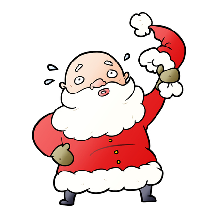 cartoon santa claus waving his hat  イラスト・ベクター素材