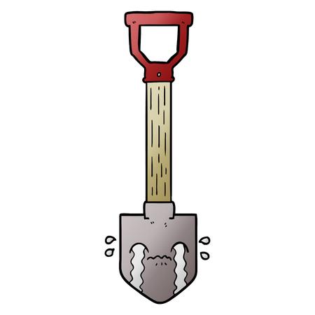 cartoon crying shovel Illusztráció