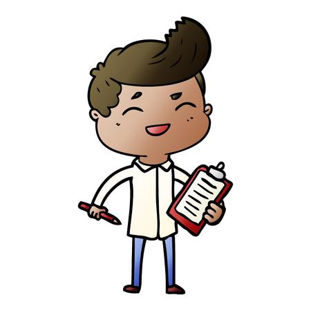 クリップボード付きの漫画笑うセールスマン  イラスト・ベクター素材