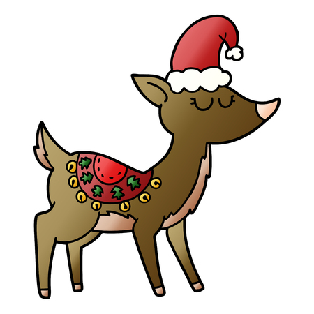 Cartoon sleepy  reindeer 向量圖像