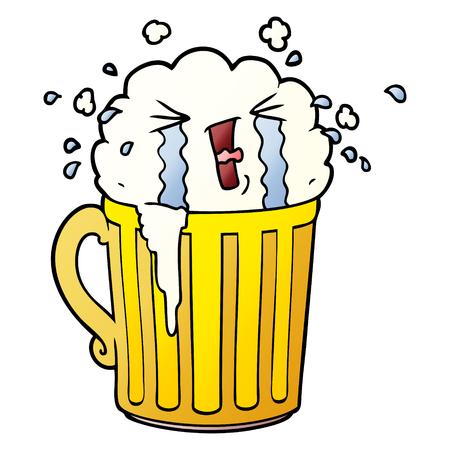 Cartoon mug of beer crying Иллюстрация