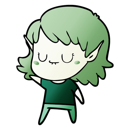 happy cartoon elf girl Illustration