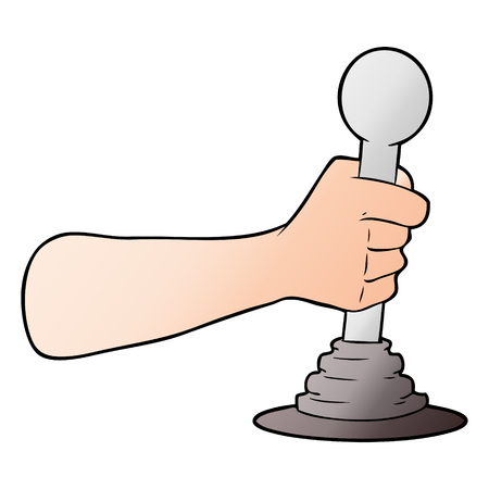 Cartoon hand pulling lever