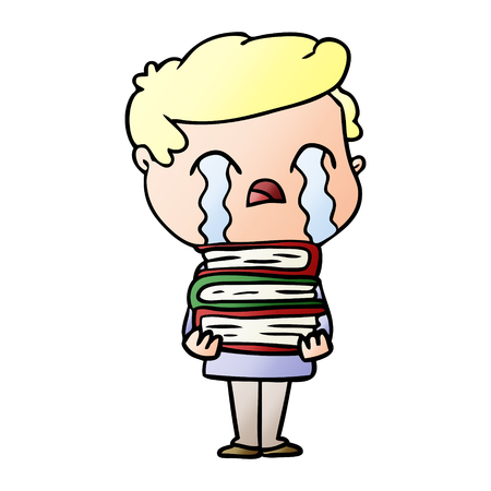 Cartoon man crying over stack of books