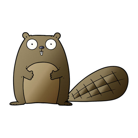 Hand drawn cartoon beaver Vettoriali
