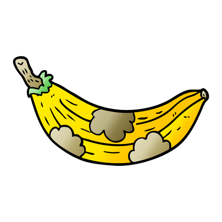 cartoon old banana going brown