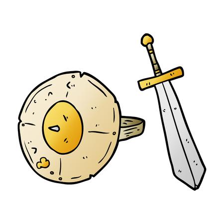 Cartone animato vecchio gladiatore scudo e spada Archivio Fotografico - 95544056