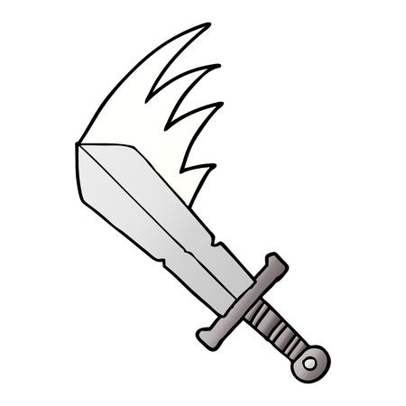 cartoon swinging sword Ilustrace