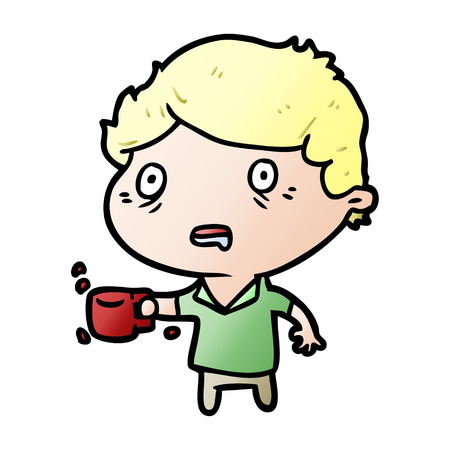 cartoon man jittery from drinking too much coffee Ilustração
