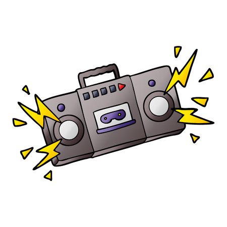 retro cartoon tape cassette player blasting out old rock tunes Illustration