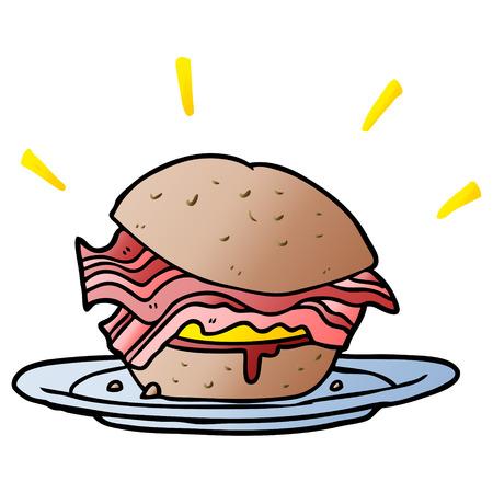 cartoon amazingly tasty bacon breakfast sandwich with cheese