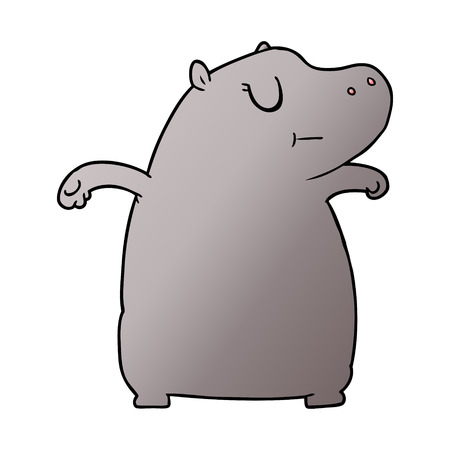 cartoon hippo illustration design.