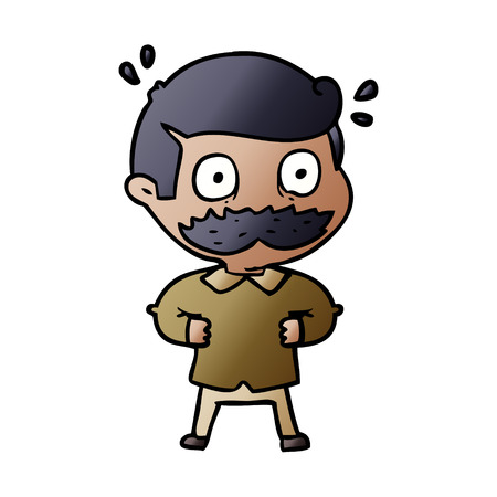 cartoon man with mustache shocked Иллюстрация