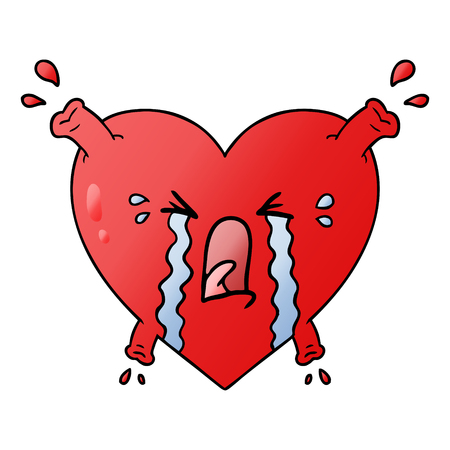 Crying heart graphic design in cartoon illustration. Çizim