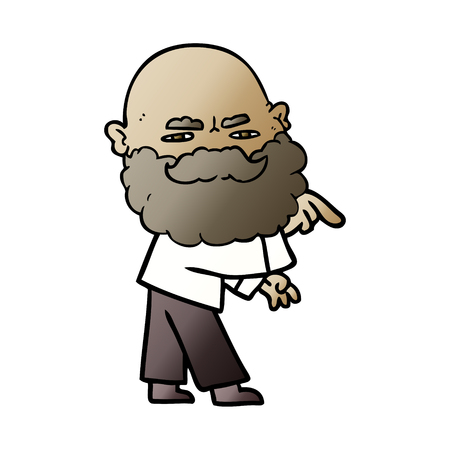 cartoon man with beard frowning and pointing