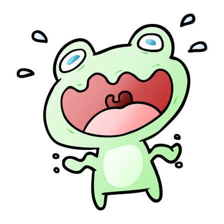 cute cartoon frog frightened