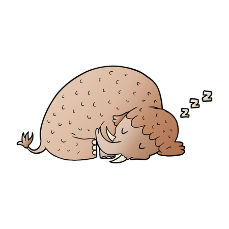 Cartoon Mammut schlafen Standard-Bild - 95570515