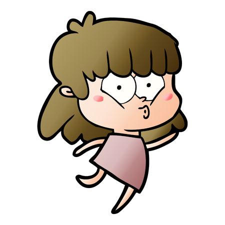cartoon whistling girl
