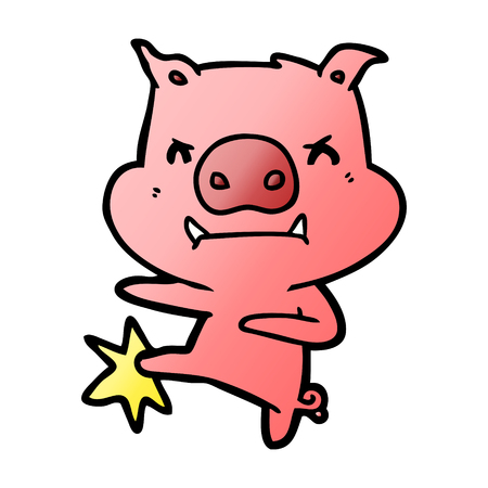 angry cartoon pig karate kicking Çizim