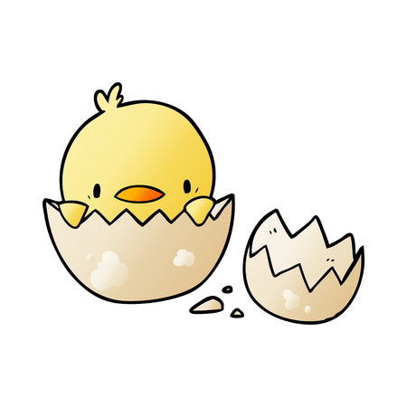 cute cartoon chick hatching from egg