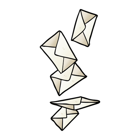 cartoon envelopes falling Ilustração
