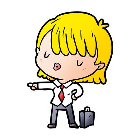 cartoon efficient businesswoman giving orders Stock Illustratie