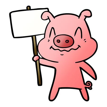 nervous cartoon pig Illustration
