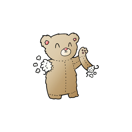 cartoon teddy bear with torn arm