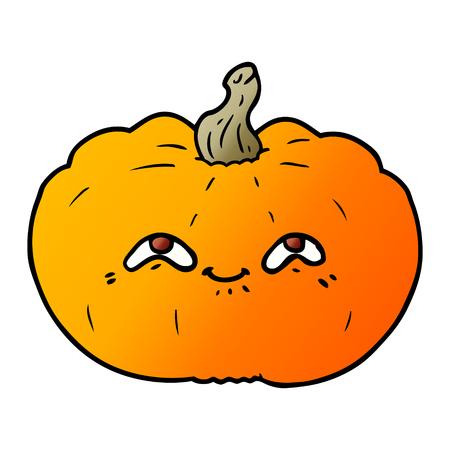Hand drawn happy cartoon pumpkin Иллюстрация