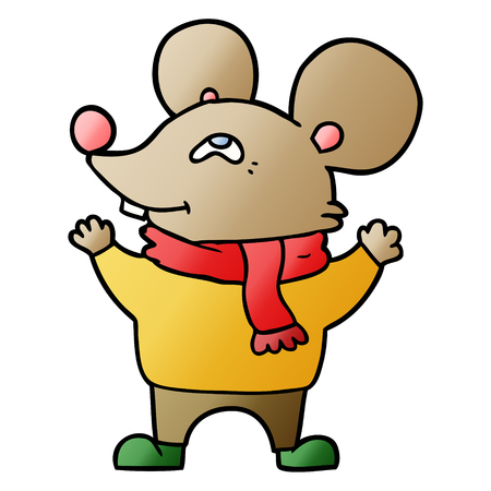 cartoon mouse wearing scarf
