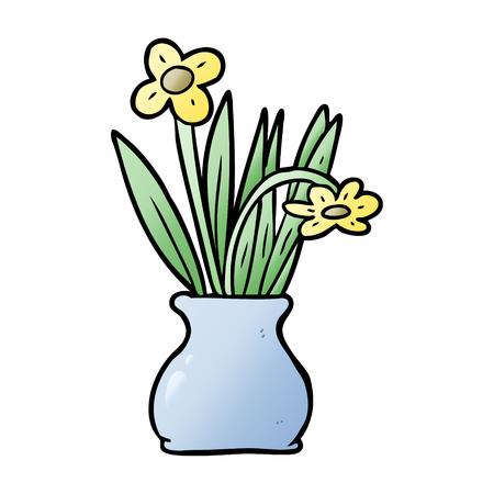 Hand drawn cartoon flowers in vase 向量圖像