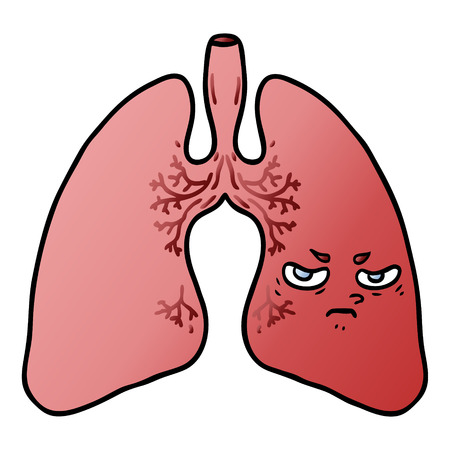 Hand drawn cartoon lungs