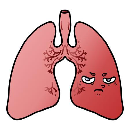 Hand drawn cartoon lungs