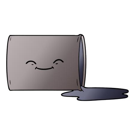 Hand drawn cartoon happy oil drum