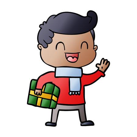 Cartoon lachender Mann , der Geschenk hält Standard-Bild - 95584336