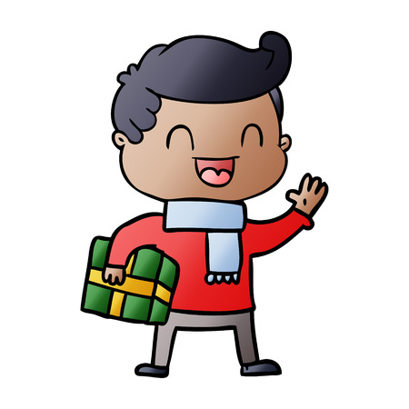 cartoon laughing man holding gift 向量圖像