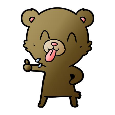 Hand drawn rude cartoon bear