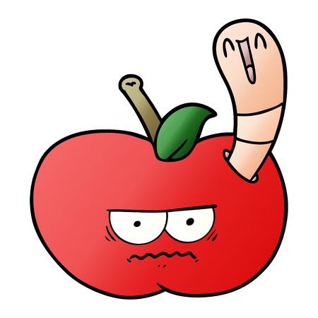 A cartoon worm eating an angry apple