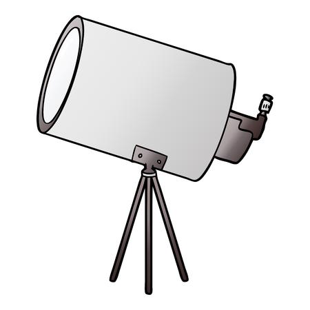 Hand drawn cartoon big telescope