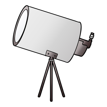 Hand drawn cartoon big telescope