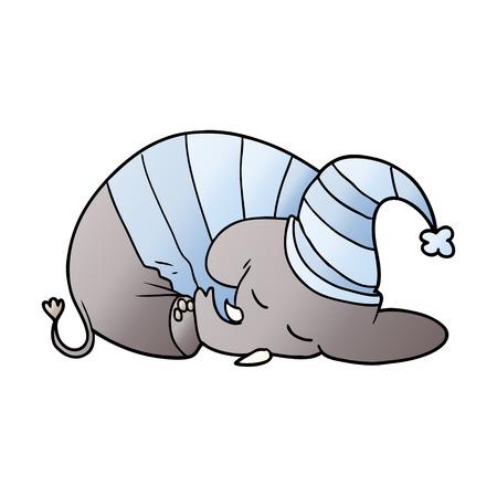 Cartone animato elefante addormentato in pigiama Archivio Fotografico - 95545871