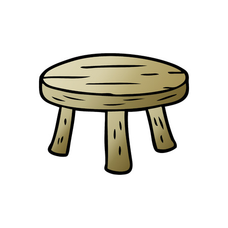 cartoon small wooden stool Illusztráció