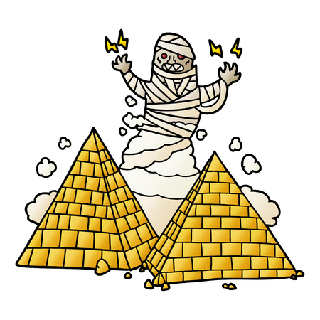 cartoon mummy and pyramids Фото со стока - 95545972